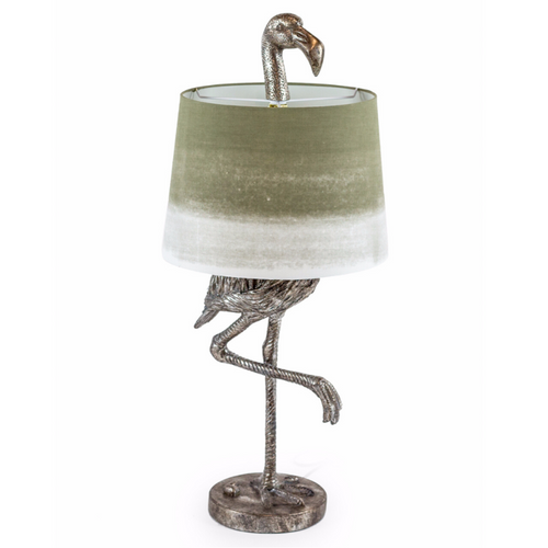 Antique Silver Flamingo Table Lamp With Fade Shade