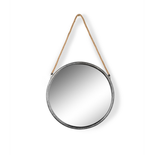 Small Round Distressed Silver Metal and Rope Mirror