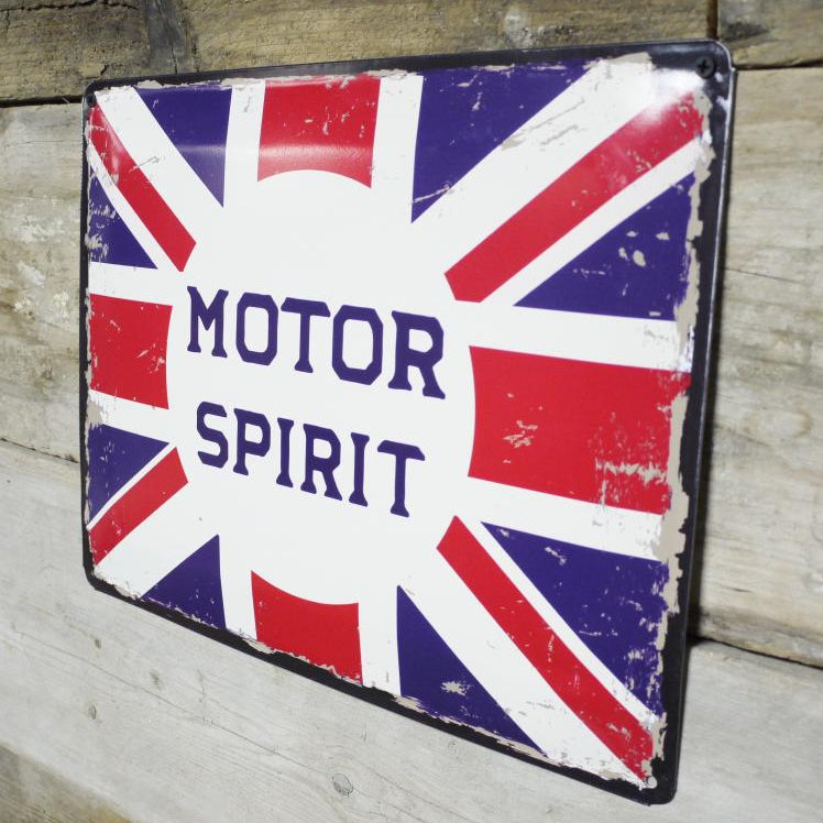Motor Spirit Union Jack Metal Plaque