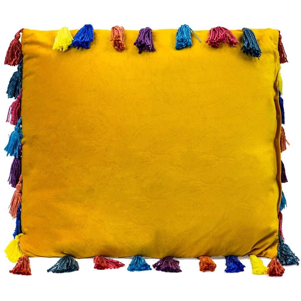 50cm Square Arco Iris Tasselled Velvet Cushion