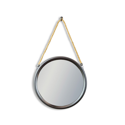 Small Round Black Metal and Rope Mirror
