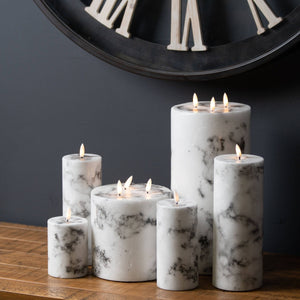 White Marble 10cm Natural Glow LED Pillar Candle