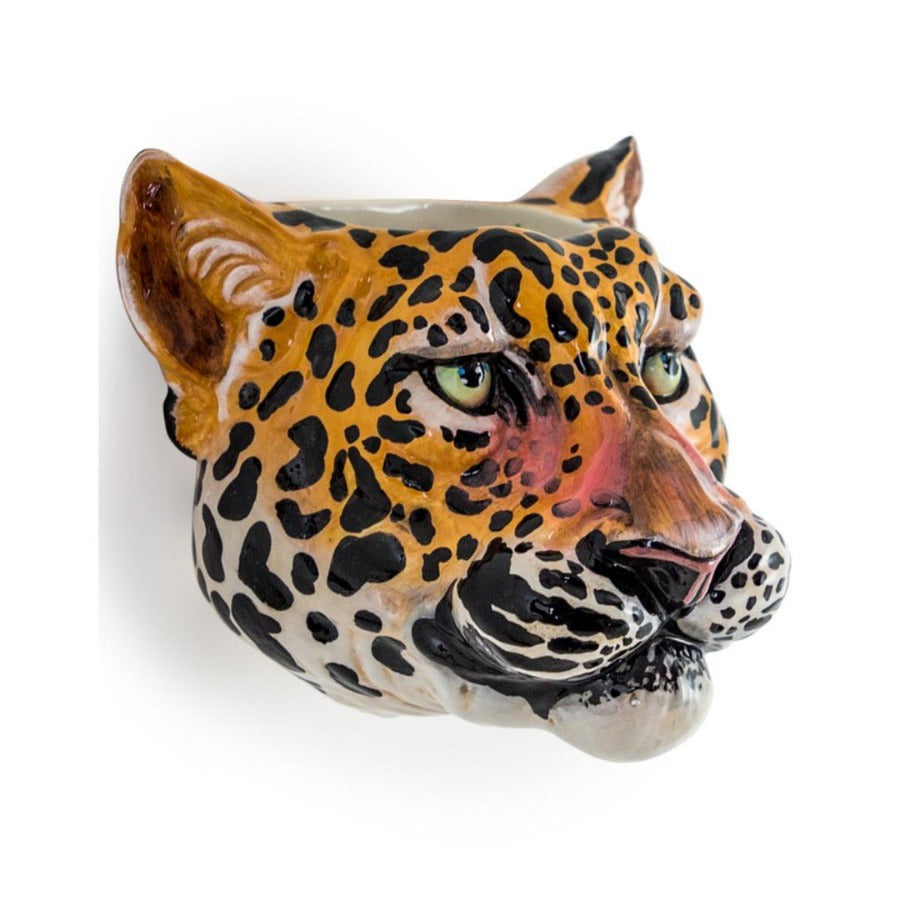 Leopard Ceramic Animal Head Wall Sconce /  Vase