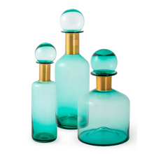 37.5cm Teal Glass Apothecary Bottle