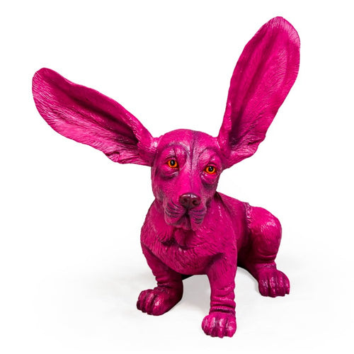 37cm Bright Pink Basset Hound Ornament