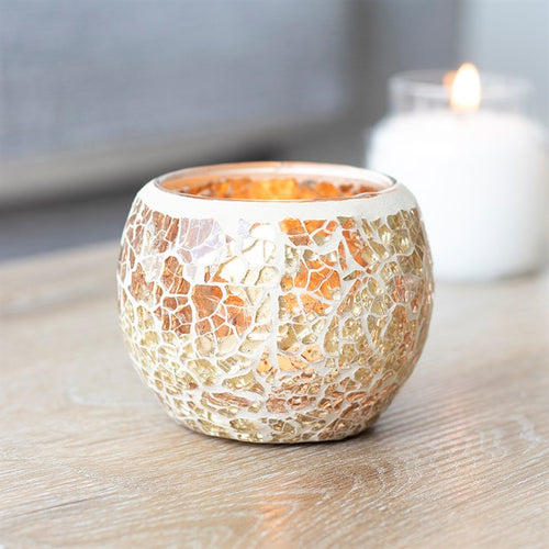 Gold Crackle Glass Candle Holder