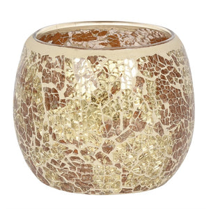 Large Gold Crackle Glass Candle Holder