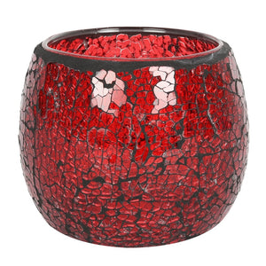PRE-ORDER Large Red Crackle Glass Candle Holder