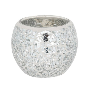 Silver Crackle Glass Candle Holder