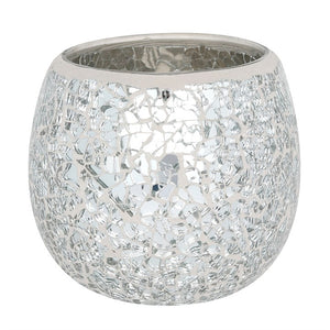 PRE-ORDER Large Silver Crackle Glass Candle Holder