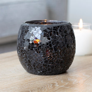 Large Black Crackle Glass Candle Holder