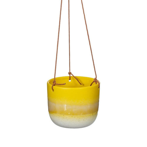 Yellow Glazed Hanging Planter