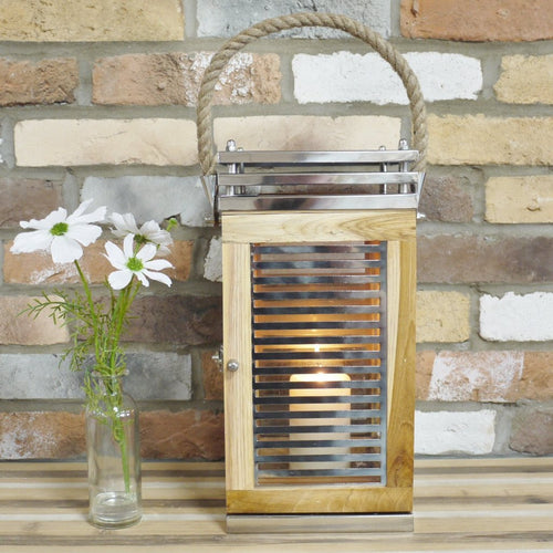 Large Contemporary Wood & Chrome Candle Lantern