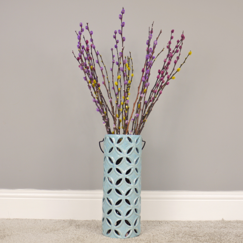 33cm Teal Blue Speckle Ceramic Vase