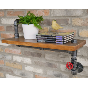 63cm Wood & Steel Pipe Shelf