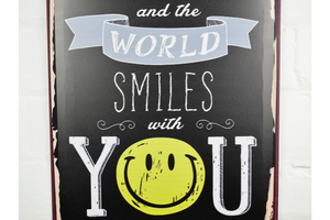 Smile And The World Smiles Metal Wall Plaque