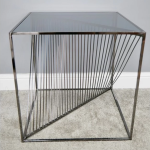53cm Electro Plated & Tempered Glass Square Side Table