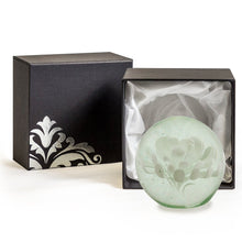 White Flower Glass Ball Paperweight