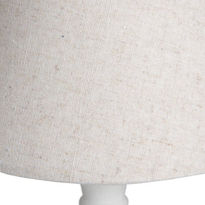 Cyrus Distressed Wooden Table Lamp & Linen Shade