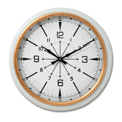 53cm Large Stylish Gold & White 24 Hour Wall Clock