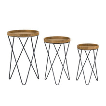 Set Of Geometric Metal & Wood Side Tables