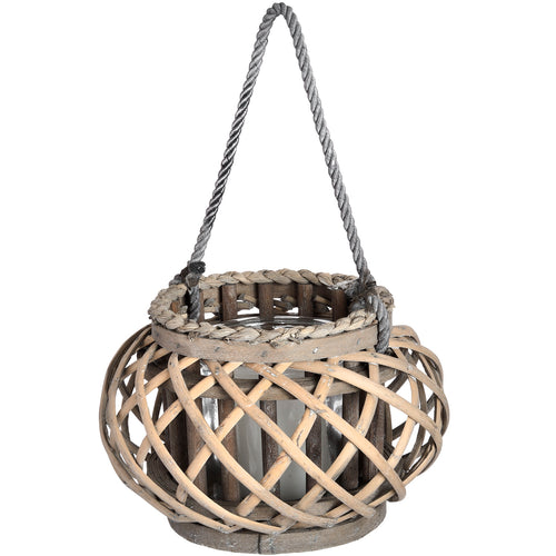 16cm Wicker Basket Candle Lantern with Hande