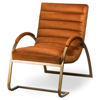 Burnt Orange and Brass Ribbed Ark Armchair