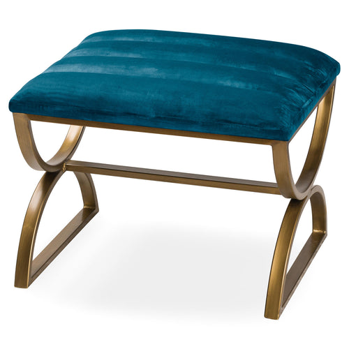 Navy and Brass Ribbed Footstool