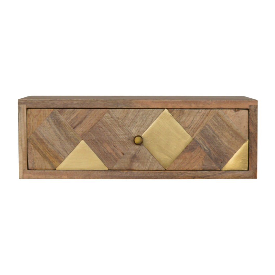 MADE TO ORDER Wall Mounted Geometric Brass Inlay Bedside