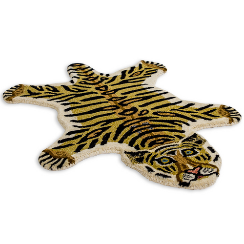 Small Faux Tiger Skin Woollen Rug