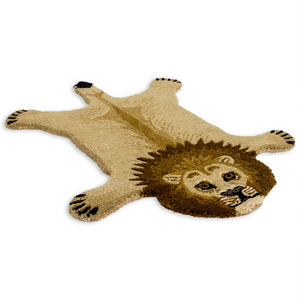 Small Faux Lion Skin Woollen Rug