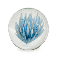 Large Blue & White Flower Glass Ball Paperweight