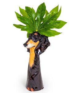 Dachshund Freestanding Ceramic Animal Head Vases