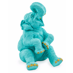 Laughing Turquoise & Gold Elephant