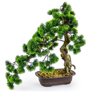 Large Faux Bonsai Tree in Iron Pot