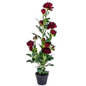 Faux Red Rose Plant In Black Pot