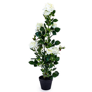 Faux White Rose Plant In Black Pot