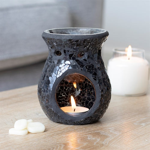 Small Black Crackle Mosaic Oil Burner