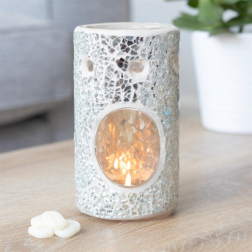 Silver Pillar Crackle Mosaic Oil Burner