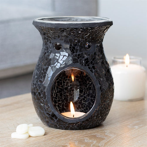 Large Black Crackle Mosaic Oil Burner