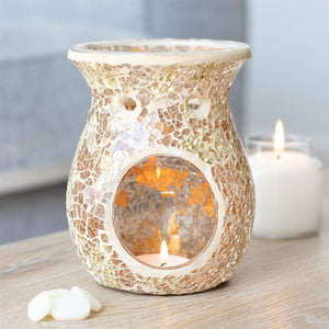 Large Gold Crackle Mosaic Oil Burner