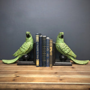 PRE-ORDER Pair of Green Parrot on Ball Bookends