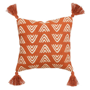 Terracotta Tasselled Cushion