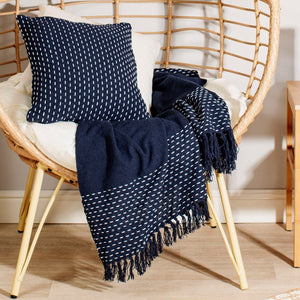Stitched Edge Tasselled Blue Blanket Throw