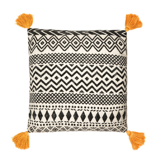 Scandi Boho Cushion with Orange Tassels