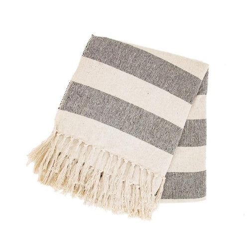 Scandi Tassel Edge Stripe Blanket Throw
