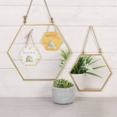Gold Geometric Rope Hanging Mirror Small/Large