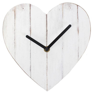20cm Small Whitewashed Heart Shaped Wall Clock