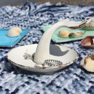 Whitewashed Mini Metal Whale's Tail Jewellery Dish
