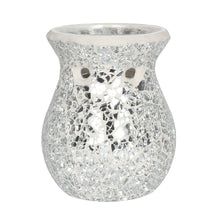 Small Silver Crackle Mosaic Oil Burner